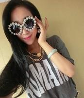 Blingbling circle three-dimensional flower fashion vintage sunglasses rhinestone sunglasses women's