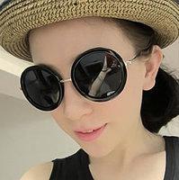 Fashion metal mirror circle vintage big circular frame sunglasses female