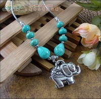 Fashion Jewelry For Women New 2013 Tibetan Turquoise Elephant Necklace A2131 (Min Order=$10)