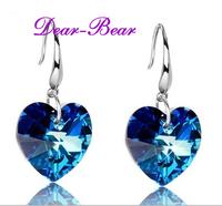 Luxury 925 Sterling Silver Titanic Heart of the Ocean Blue Heart  Hoop Earring Jewellery