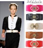 2pcs/Lot Show Fair Cummerbund With Flower Buckle Sweet New Wide Elastic Cummerbund Women Elastic Waist Belt Free Shipping