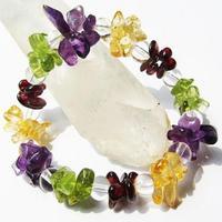 Natural crystal bracelet yellow crystal garnet peridot white crystal all-match female bracelet yin beauty