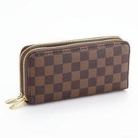 Day clutch wallet square grid fashion wallet double zipper wallet big long design PU male women's