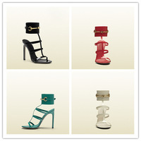 Patent Leather Women HIgh Heel Sandals White Red Green Black Strap Sandal