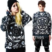 Fashion HARAJUKU killstar skull ktz geometry print loose long-sleeve lovers sweatshirt men&women's clothing plus size t-shirt