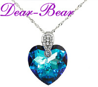 Luxury 925 Sterling Titanic Heart of the Ocean Blue Heart Pendant Necklace Jewellery