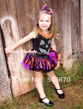 Halloween Black Baby Pettitop with Orange Lacing & Sparkle Pumpkin with Orange Purple Black Striped Newborn Pettiskirt MANG1245(Hong Kong)