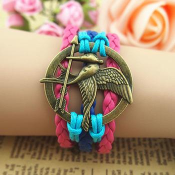Hunger Games sword bird bracelet love bird sword hand-knitted multi-layer leather cords strap bracelets free shipping HG010