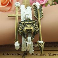 Fashion new 2013 Bracelet Cross Tiger head Arrow bracelet men charm bracelet men's jewelry leather cord bracelet friendship 5pcs