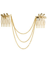 Double Charming Gold Leaf Hairpins Hair Combs Fashion Girls Hair Jewelry