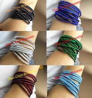 wholesale 60pcs/lot mix diff color handmade New Rhinestone Bling Crystal Fashion Wrap Bracelet LN01-2