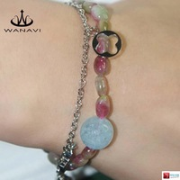 Vaasa than natural crystal bracelet female watermelon tourmaline bracelets fashion luxury jewelry female