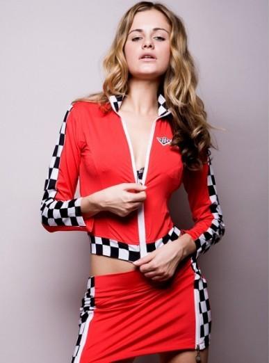 Fe red roupas automóvel de corrida ds traje dançarina levar roupa da motocicleta jaqueta de carros(China (Mainland))