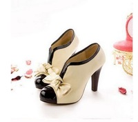 2014 Free Shipping Women's Spring Shoes Renaissance V-Opening Bowknot Platforms/Pumps Beige U10081322