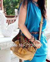 Spangle Handbags 2013 Women Handbag Brand Name Miya Thai Antique Embroidery Shoulder Bag PU Handbags For Women