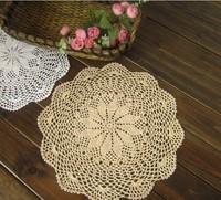 "40cm/15.74"" Handmade Crochet 100% Cotton Round table mats Coaster mat pad Doily,Ecru,10PCS/LOT"