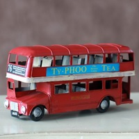 Double layer bus cars metal car model decoration