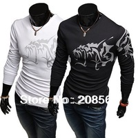 Men's Clothing Long Sleeve T-shirt Wolf Pattern T shirt Cultivate One's Morality Fashion Tattoo Design T-shirt   8210
