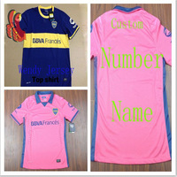 A+++ Boca Juniors Away Pink 2014 New Thailand Soccer Jersey Player Version Argentina Boca Juniors Uniform Accept Custom NAME