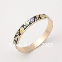 Free Shipping!  Enamel Bracelet  Electroplated 18K Gold Processing Zinc Alloy Broad Bangles