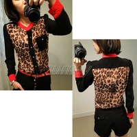 Free Shipping 2013 Fashion Women's Leopard  Chiffon Tops Button Down Shirt Blouse S M L XL XXL XXXL