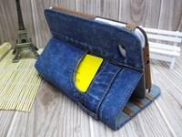 "Newest 7.9"" case For Ipad mini Folding Stand Leather Case Jeans Card Wallet Stand Leather Case For Ipad mini Free Shipping"