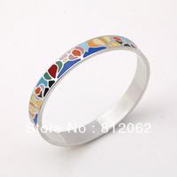 Free Shipping! Enamel Bracelet Silver Plating Zinc Alloy  Bangles Enamel Jewelry Multicolour