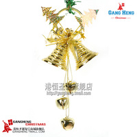 Christmas tree decoration 23 13cm gold double clock Every light bell pendant 100g