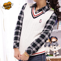 Autumn preppy style V-neck 100% cotton pullover sweater vest student school uniform cotton 3