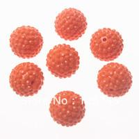 Free shipping.20mm 100Pcs Orange Resin Rhinestone Ball Halloween Chunkky Beads