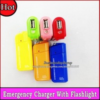 wholesale 1000pcs AA Battery USB emergency charger + Flashlight portable charger for MP3 Cellphone Tablet pc 8 Color Free fedex