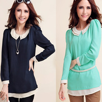 Autumn Chiffon Tops.Maxi Size Women's Clothing.Korean Version Was Thin Blouses & Shirts..:XL-XXL-XXXL-XXXXL.Free Shipping!