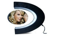 "Free shipping C Shape Magnetic levitation Anti-Gravity Floating 3"" Photo frame suspension with LED Lights"