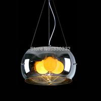 Free shipping 3 light Clear Glass Pendant Lights Modern Dining Room Pendant Lamp E27 40W*3 PL262