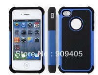 Hybrid Black & Gray Protective Hard Silicone Case Cover For iphone 4 4G 4S 500pcs/lot