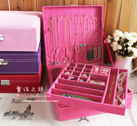 Fashion vintage princess quality flannelet jewelry box jewelry storage box storage box jewelry box big necklace box