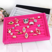 Quality full velvet ring plate stud earring storage box jewelry box accessories plaid pavans display rack