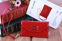 Hot sale Women Fashion Luxury leather  Wallet Wristlet Red Case for iPhone 5  Free Shipping