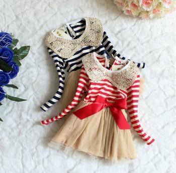 children's clothing  fashion baby girl striped long sleeve dress toddler dress 4pcs/lot Free shipping