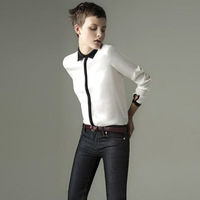 Hotting sell 2014 Europe and America hit the color lapel long-sleeved cotton shirt free shipping