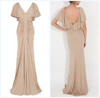 Free Shipping Prom Gowns Long Superb Women's V-Neck Pleat Elie Saab Mermaid Backless Short Sleeves Evening Dress Gown 9791