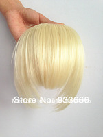2 Clips In/On Bangs Hair Extension Fringes Remy Synthetic Wigs #613 Platinum Blonde Color Long Side Earlock 0.035kg