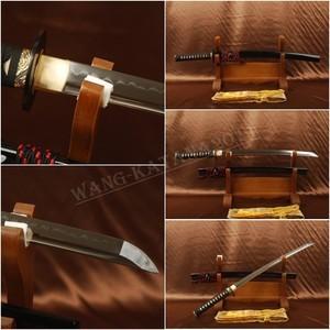 Full 1095 Carbon Steel Blade Clay Tempered Japanese Samurai Wakizashi SWORD JPW04