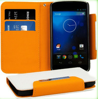 For LG E960 Nexus 4 leather wallet fashion case stand cover with card holder