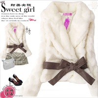 Women's Winter Elegant Imitated Rabbit Fur Bowknot Belt Embellished Warm Soft Coat Grey/Beige/Black JR001/JR002/JR003