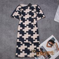 New European Style 2014 Ladies Classic Brand O-Neck Collar Luxury Black Patchwork Dresses Womens Plus Size Vintage Dress