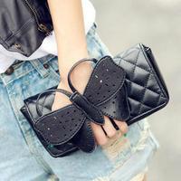Free shipping, 2013 women's handbag plaid clutch bag chain bow shoulder bag elegant day clutch bag small  shoulder bag