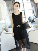 2013 women's elegant fashion double layer chiffon long design one-piece dress the catawba ash black