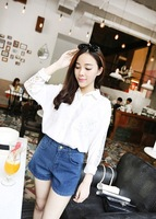 2013 women's autumn elegant ladies lace batwing sleeve shirt white black