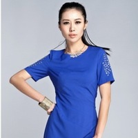 Free shipping Summer 1078 fashion blue rhinestones one-piece dress star style breathable comfortable fabric  ,casual dress